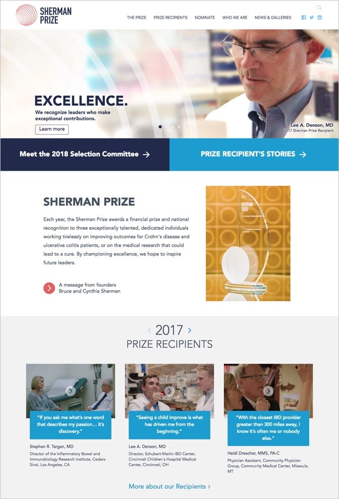 The Sherman Prize website redesign